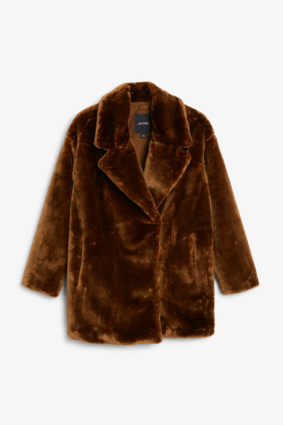Front image of Monki faux fur coat in beige