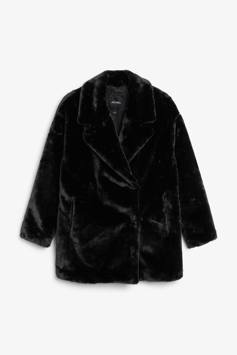 Front image of Monki faux fur coat in black