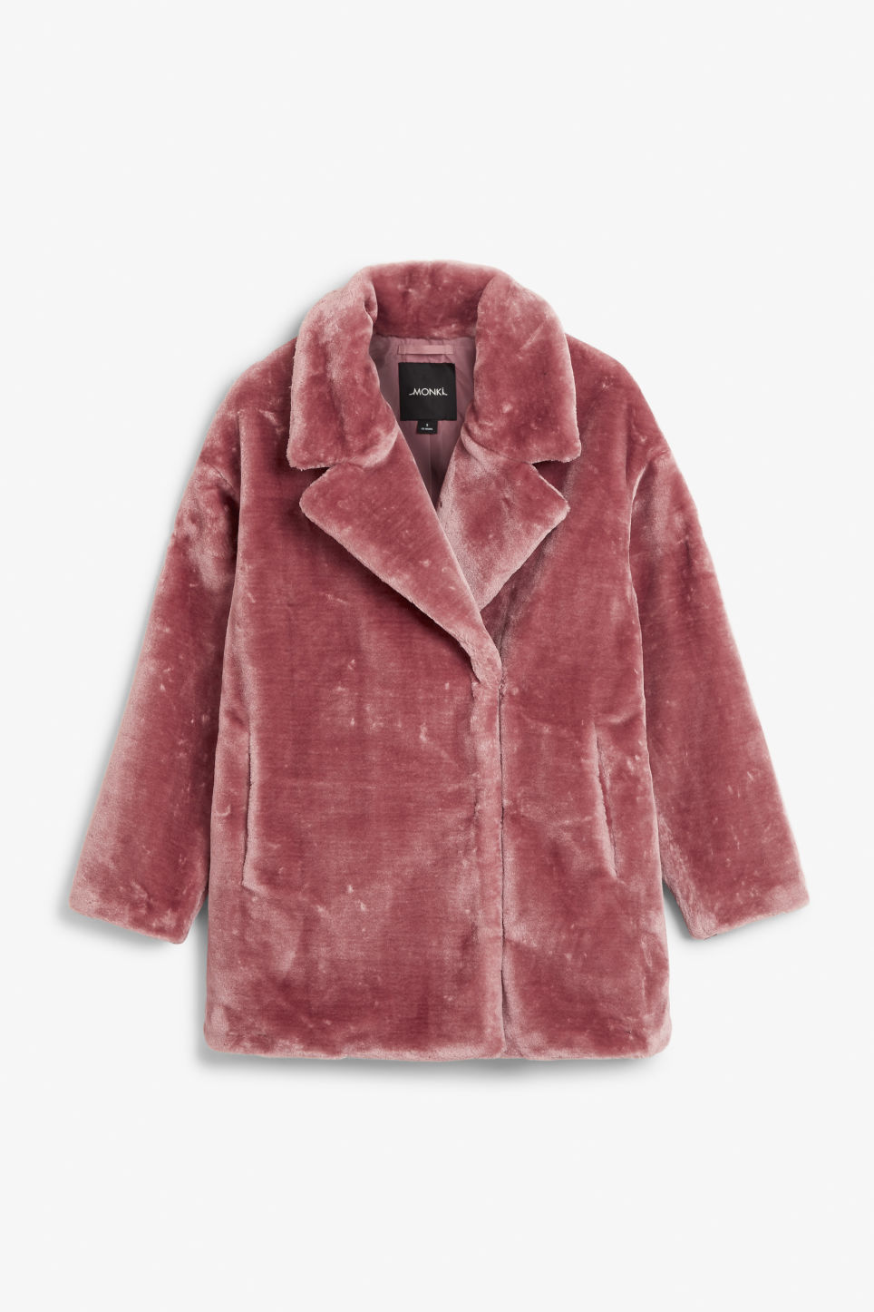 Front image of Monki faux fur coat in pink