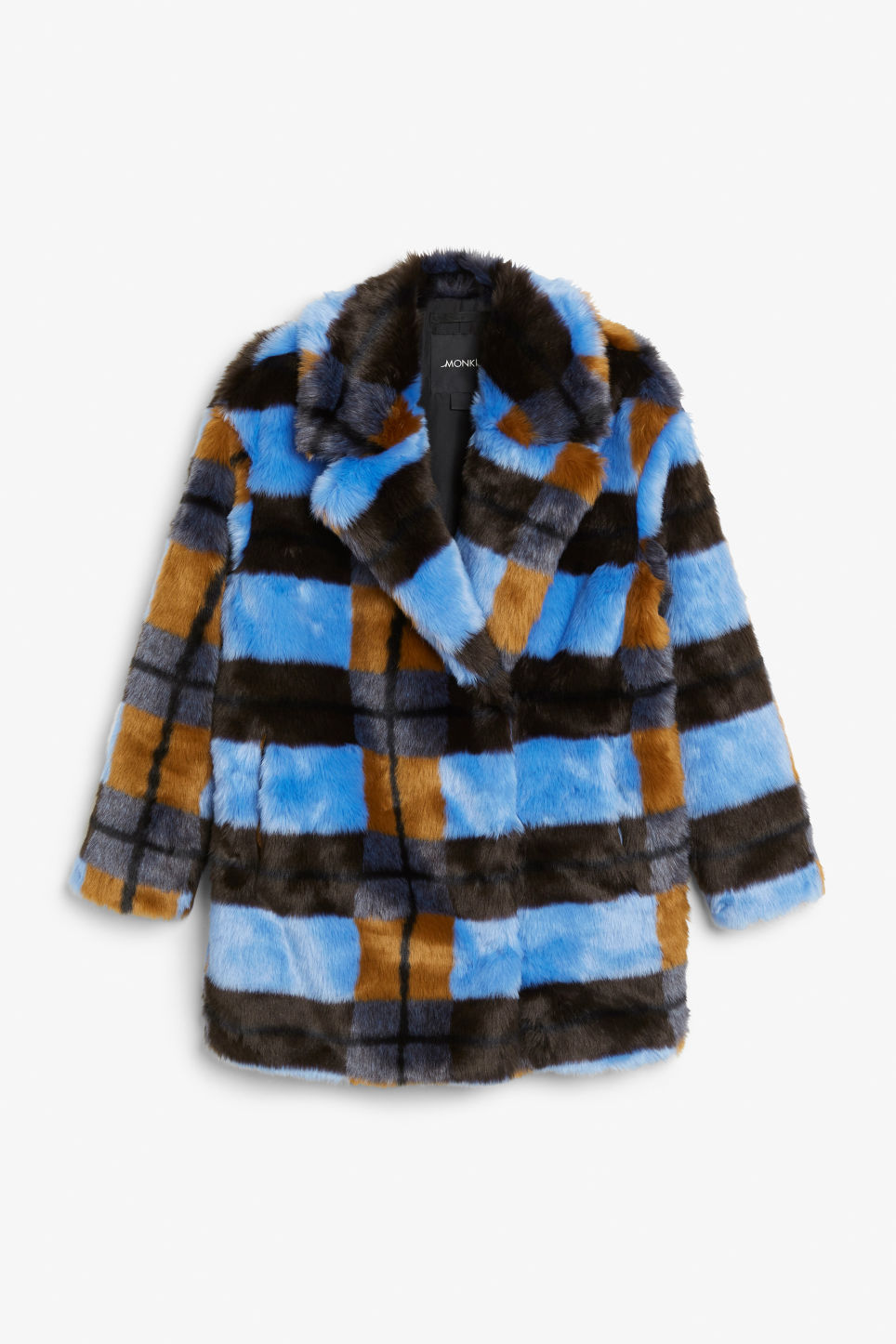 Front image of Monki faux fur coat in blue