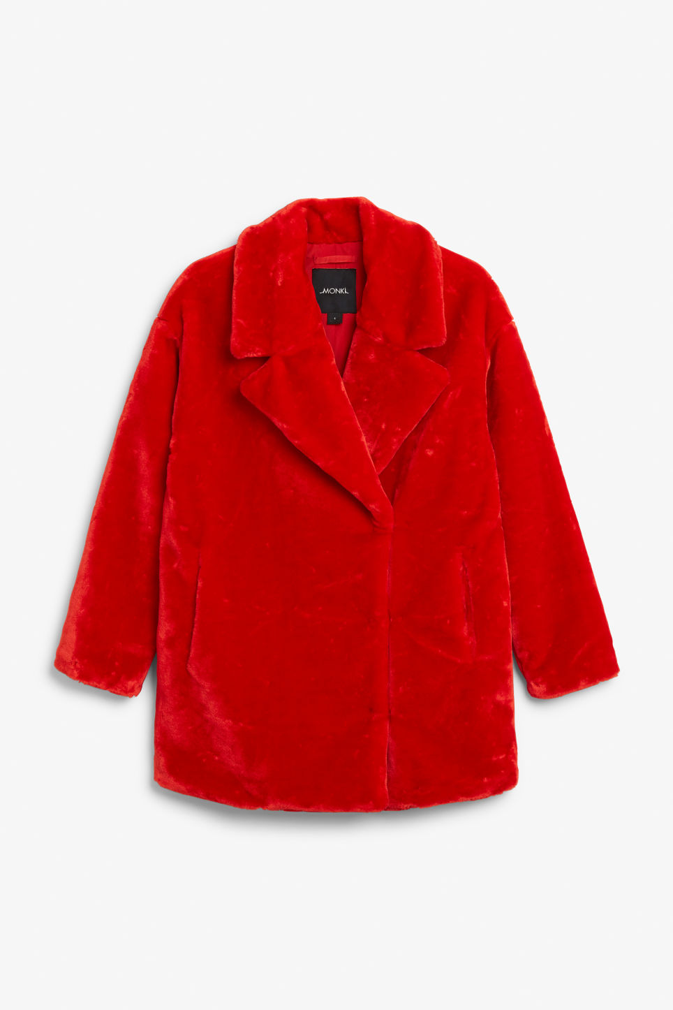 Front image of Monki faux fur coat in red