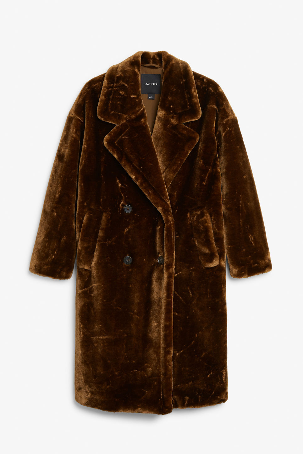 Front image of Monki long faux fur coat in beige