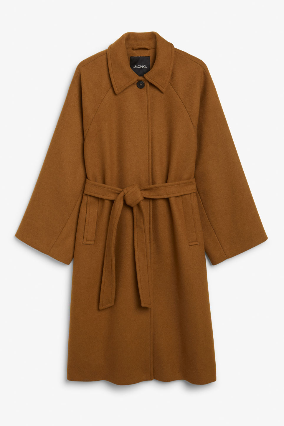 Front image of Monki belted long coat in beige