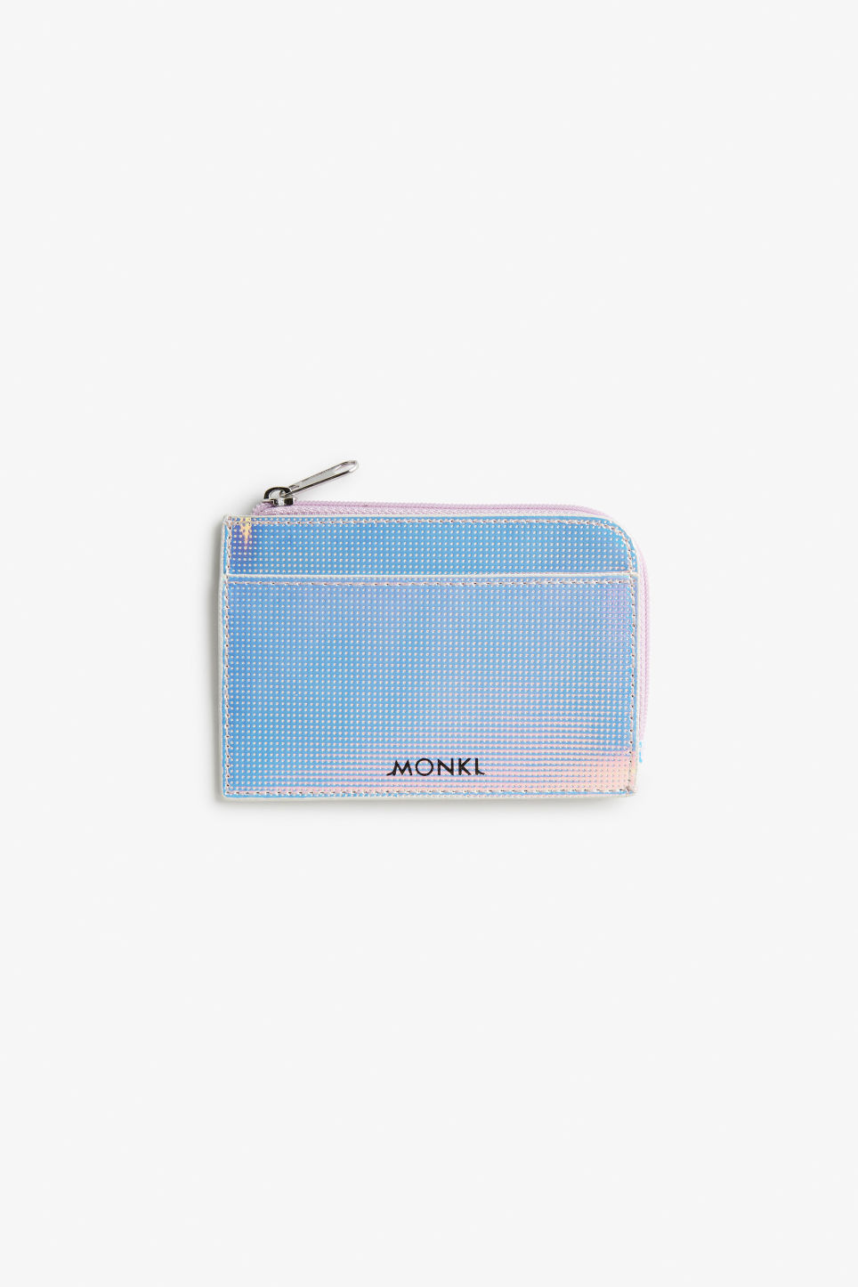 Front image of Monki shiny card case in white
