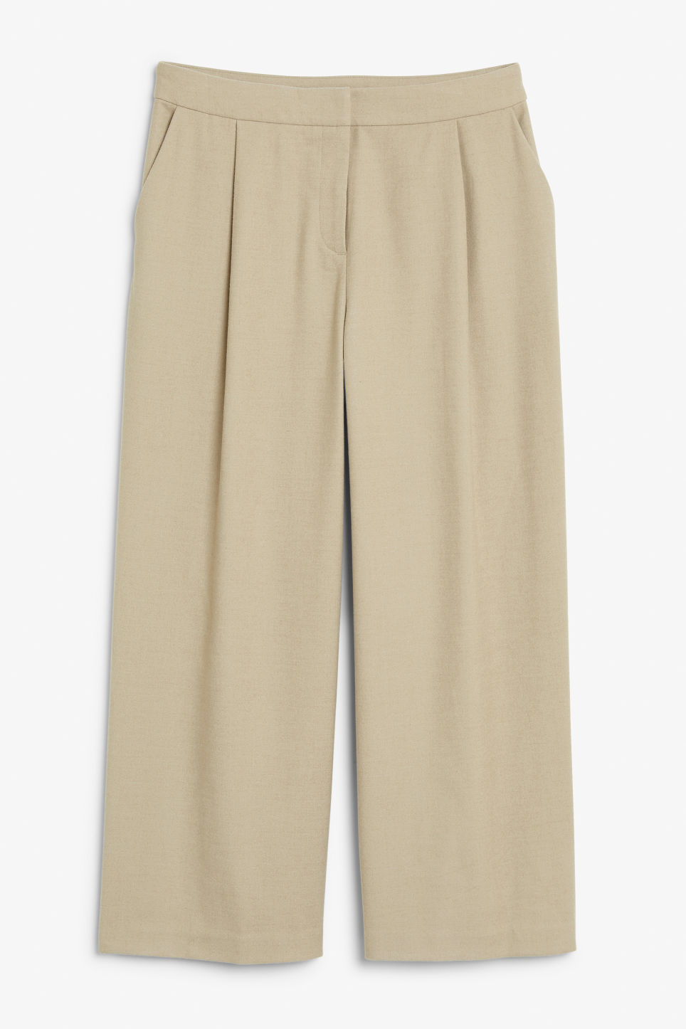 Front image of Monki wide leg trousers in beige