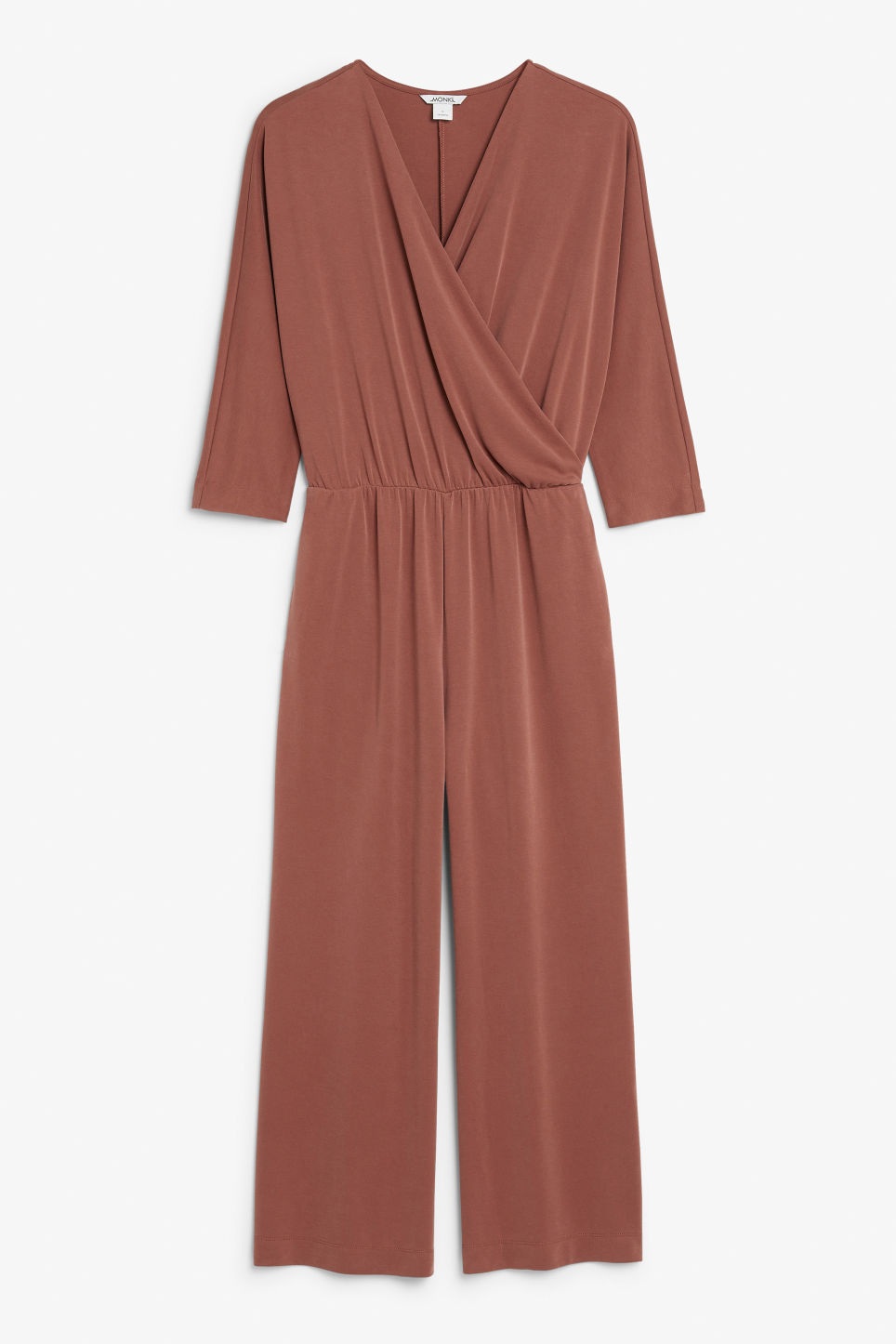 Front image of Monki super-soft wrap jumpsuit in red