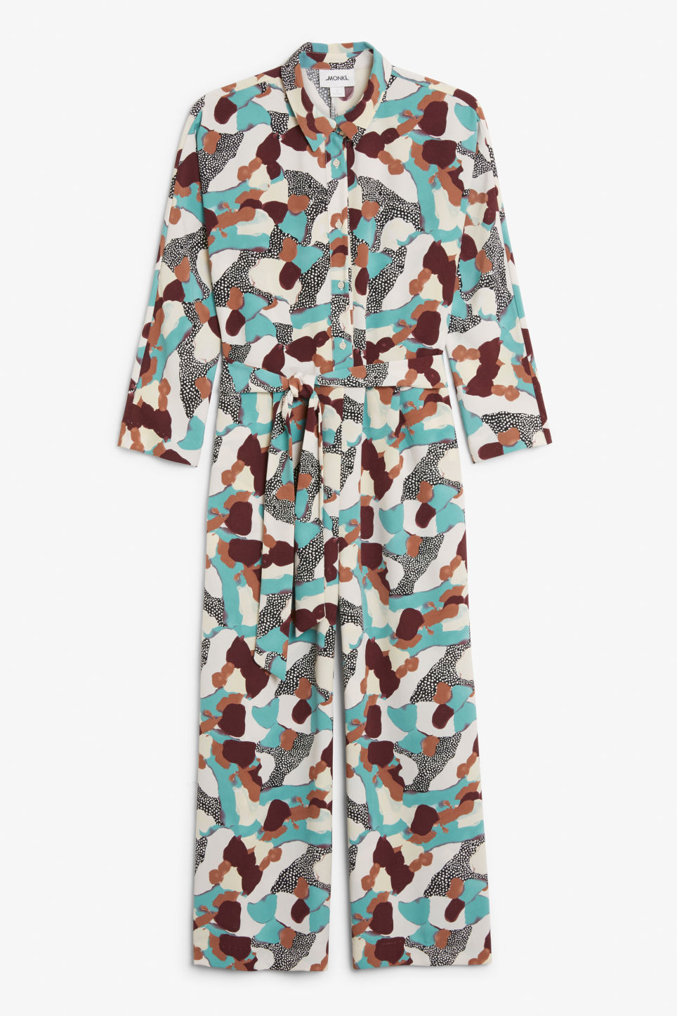 Front image of Monki shirt collar jumpsuit in turquoise