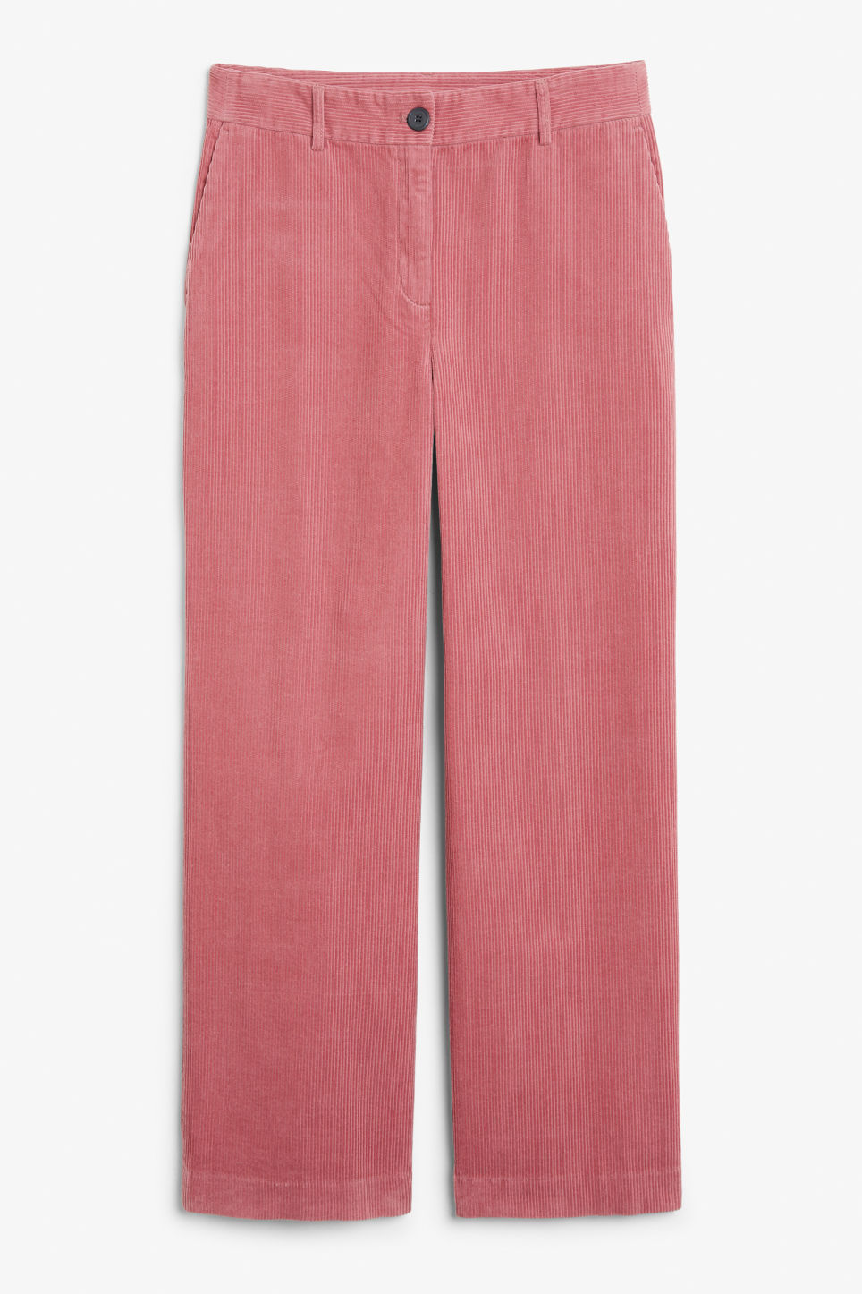 Front image of Monki corduroy trousers in pink