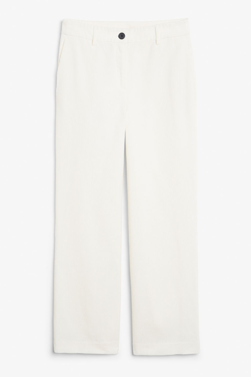 Front image of Monki corduroy trousers in white
