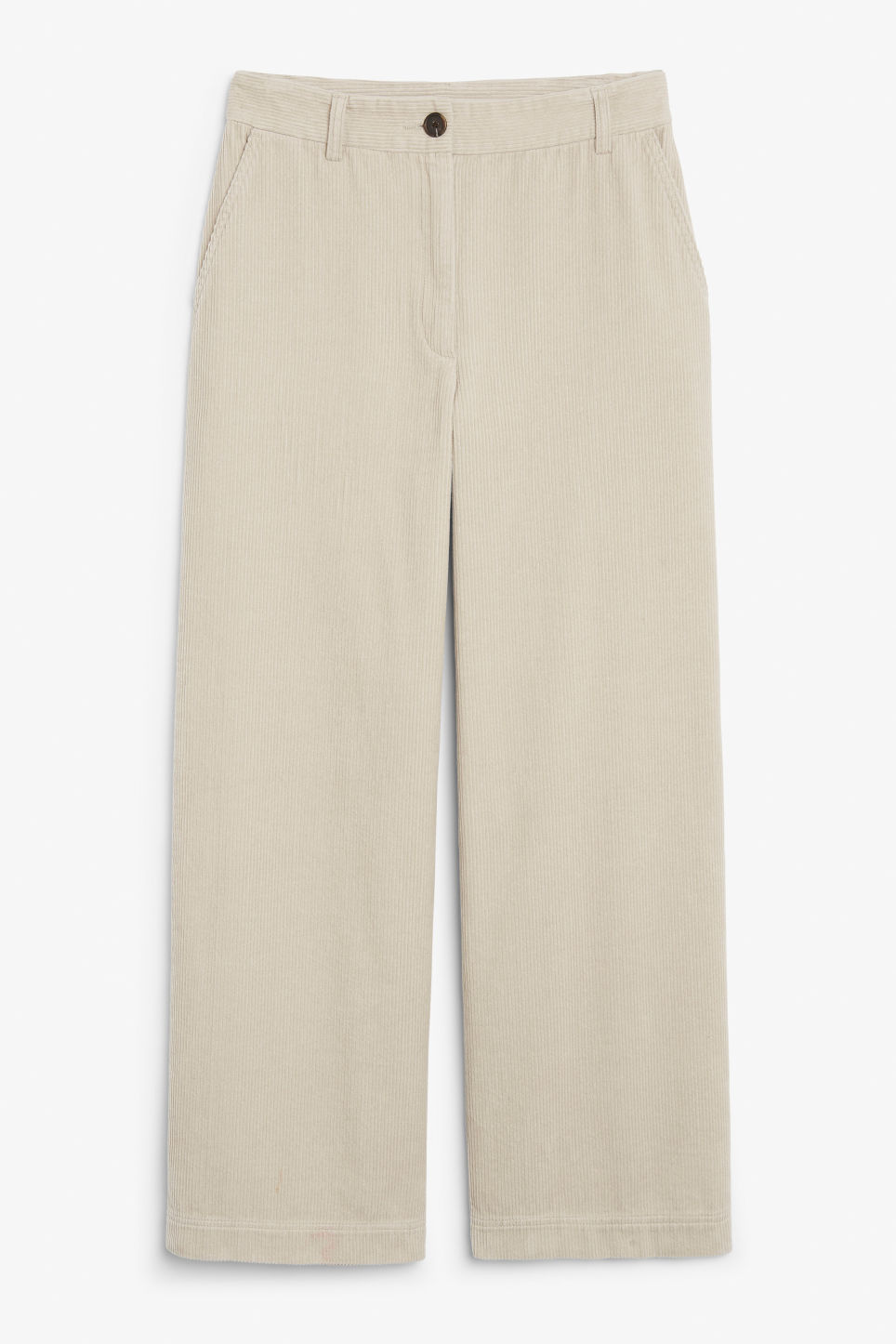 Front image of Monki corduroy trousers in beige