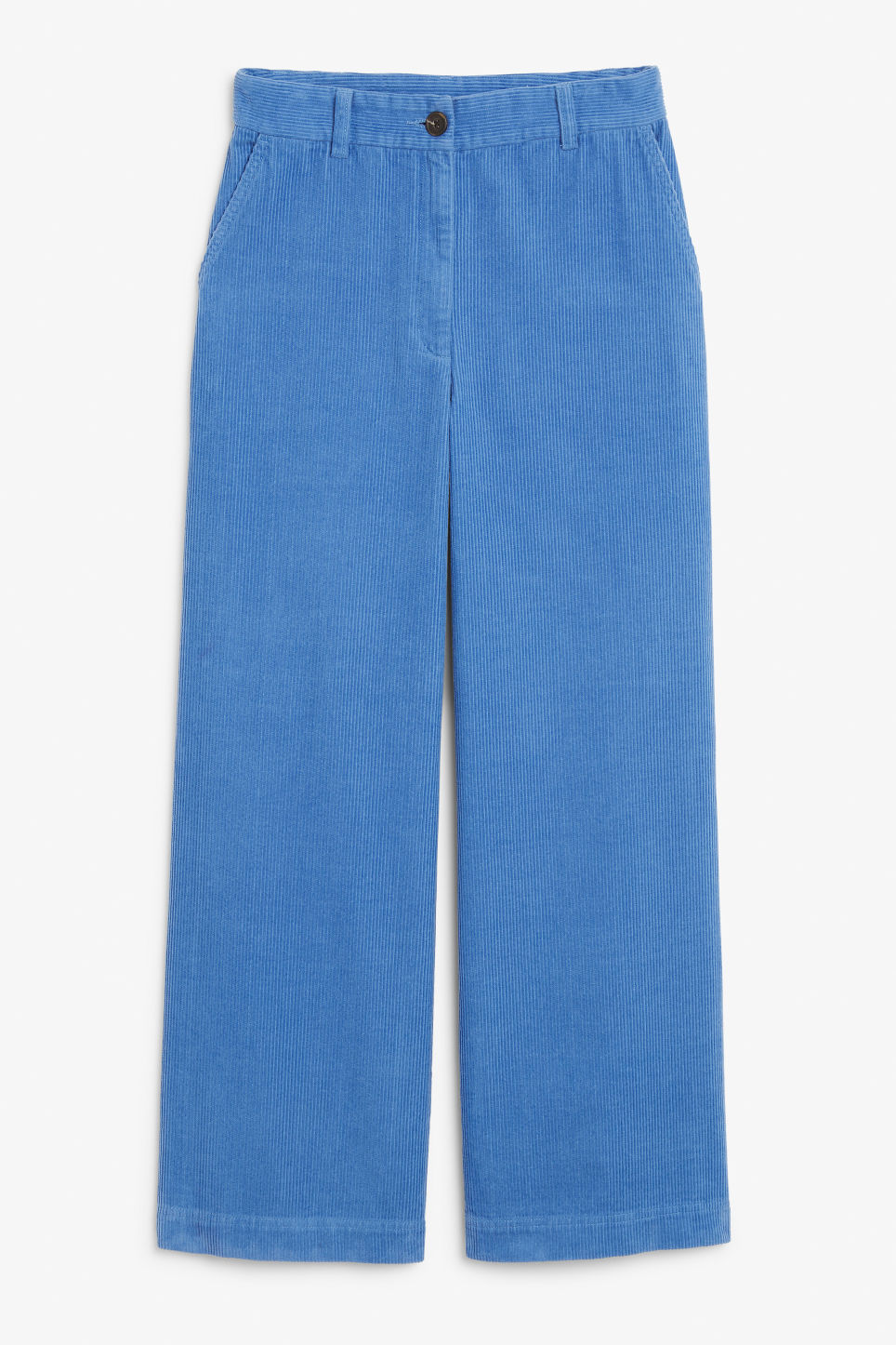 Front image of Monki corduroy trousers in blue