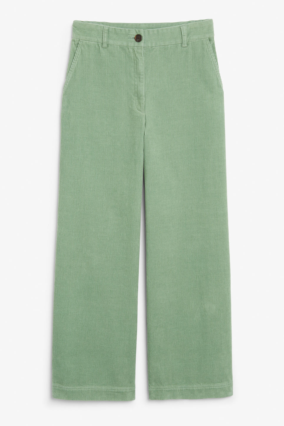 Front image of Monki corduroy trousers in green