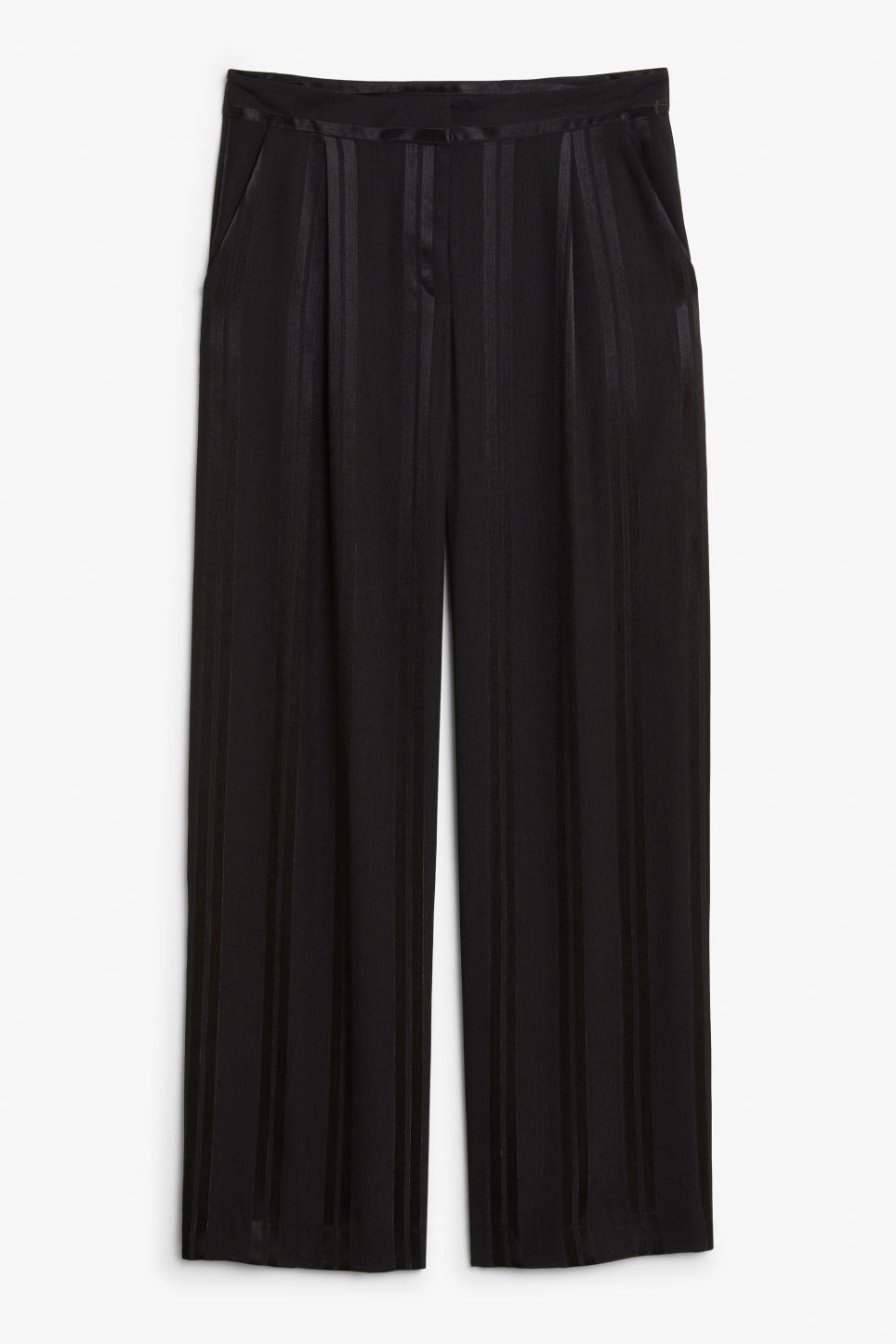 Front image of Monki high waisted trousers in black