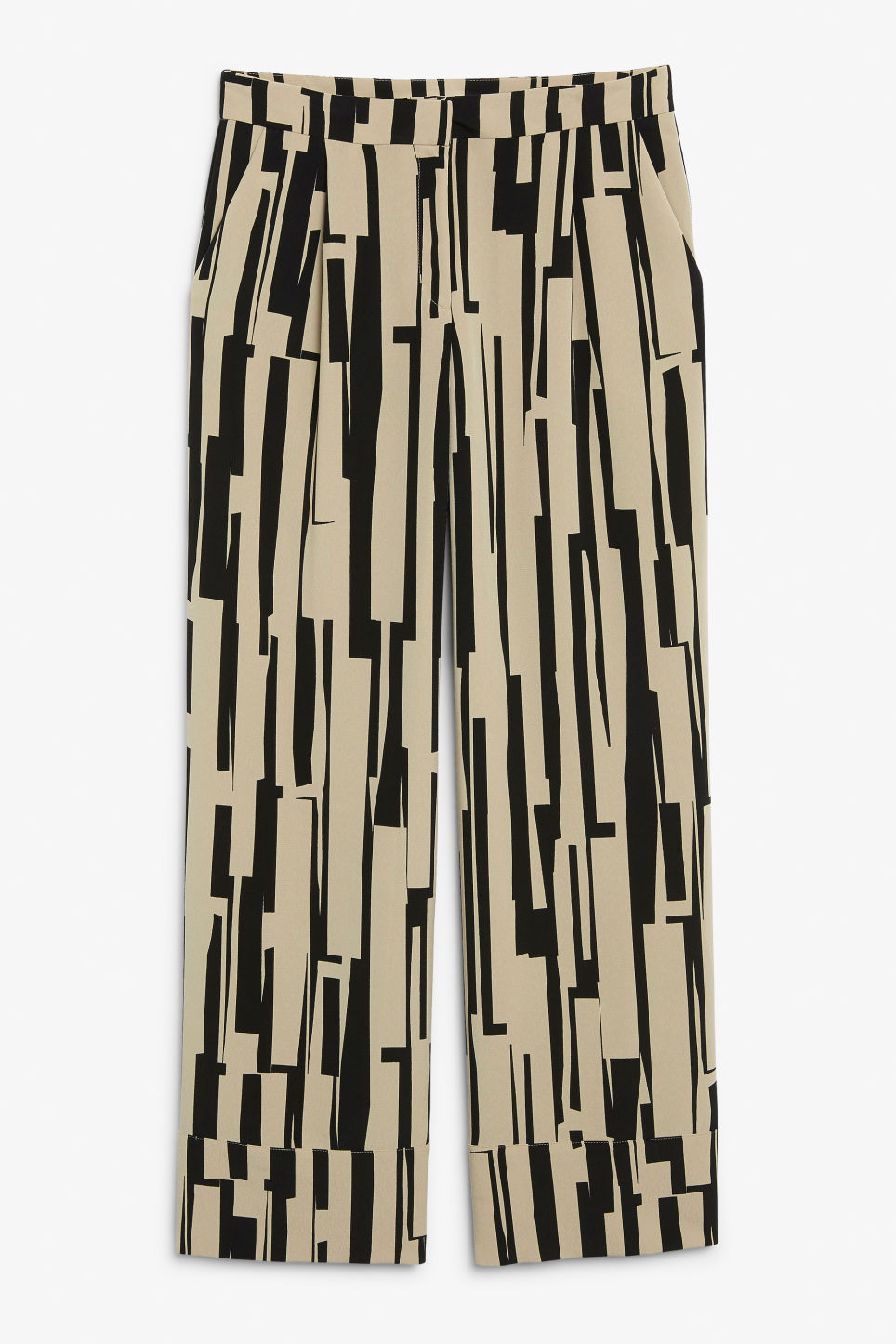 Front image of Monki high waisted trousers in beige