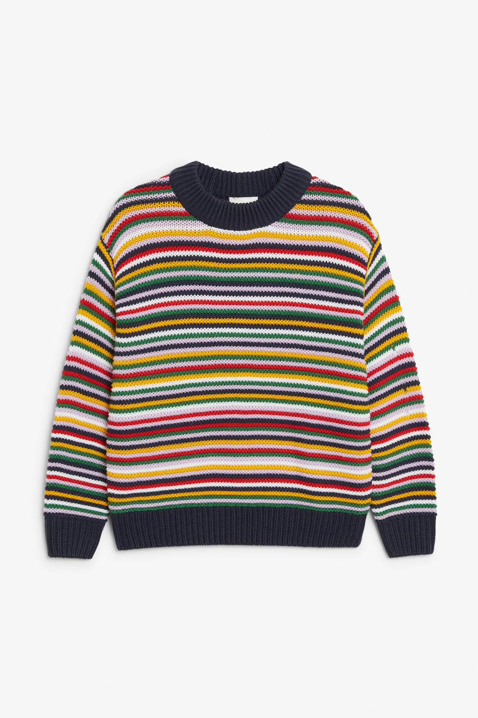 Front image of Monki striped knit sweater in red