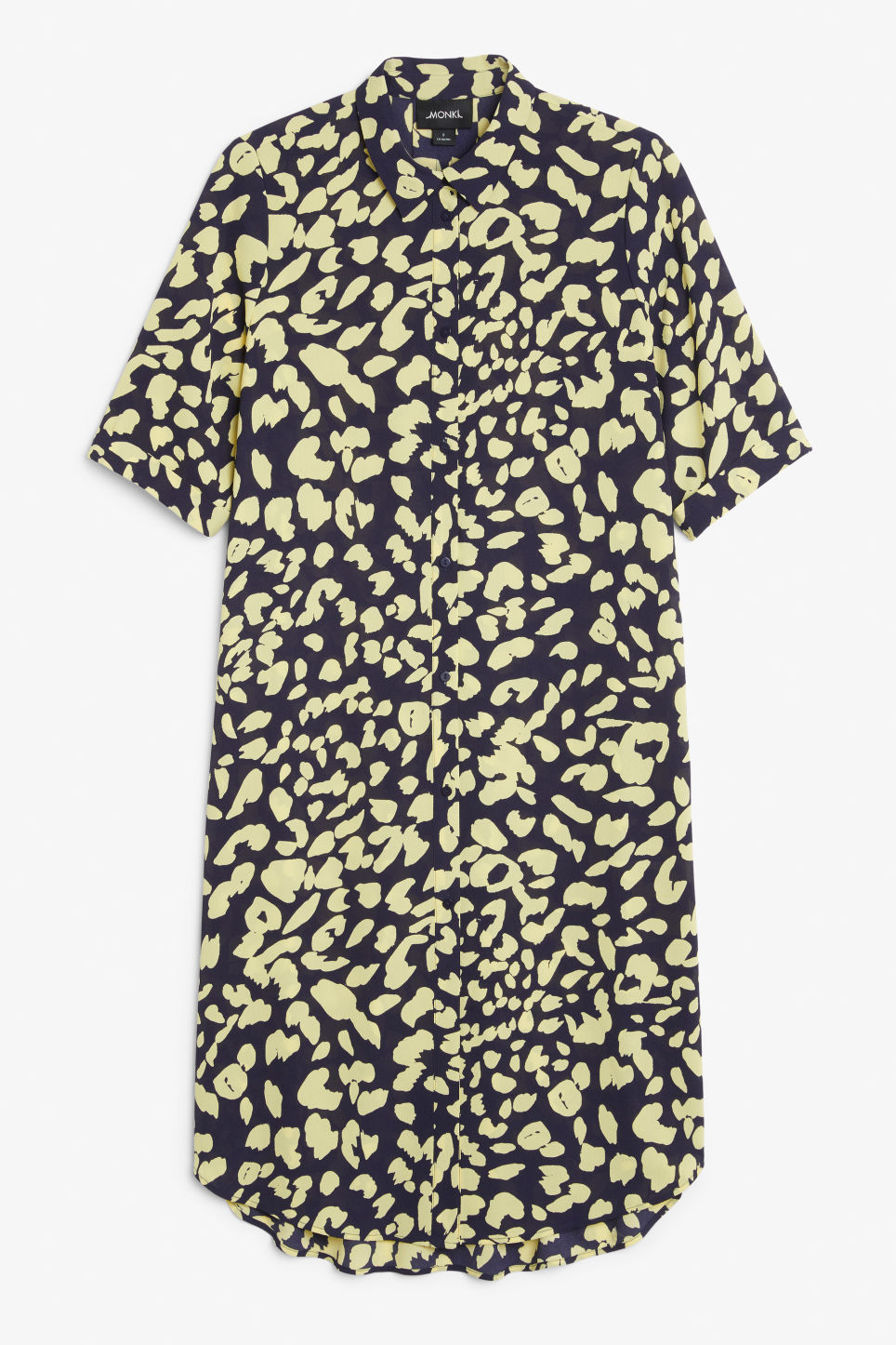 Front image of Monki button-up shirt dress in blue