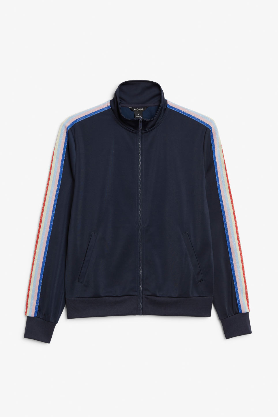 Front image of Monki zip tracksuit jacket in blue