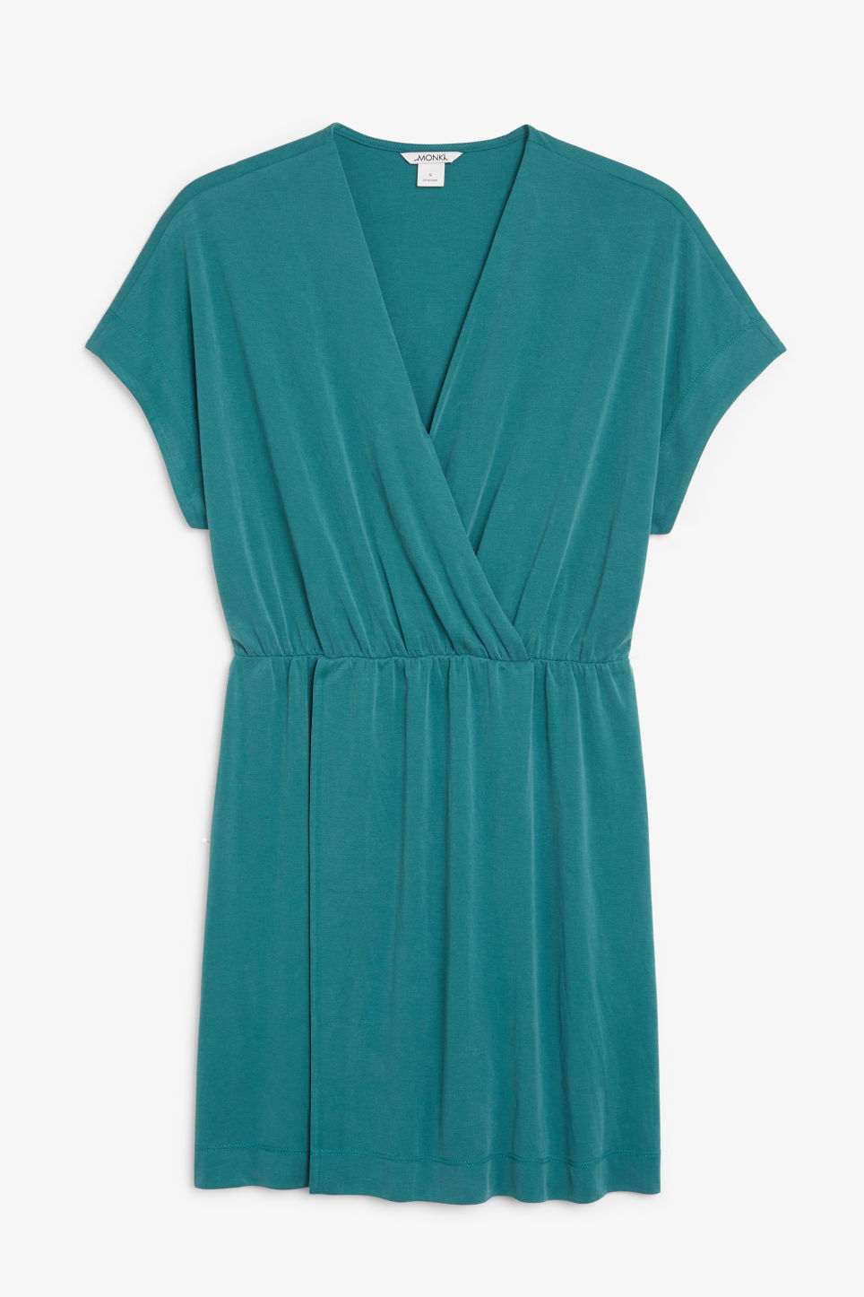 Front image of Monki super-soft mini wrap dress in green