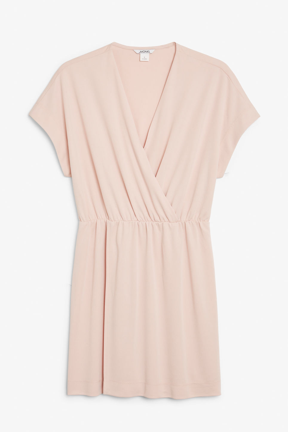 Front image of Monki super-soft mini wrap dress in pink