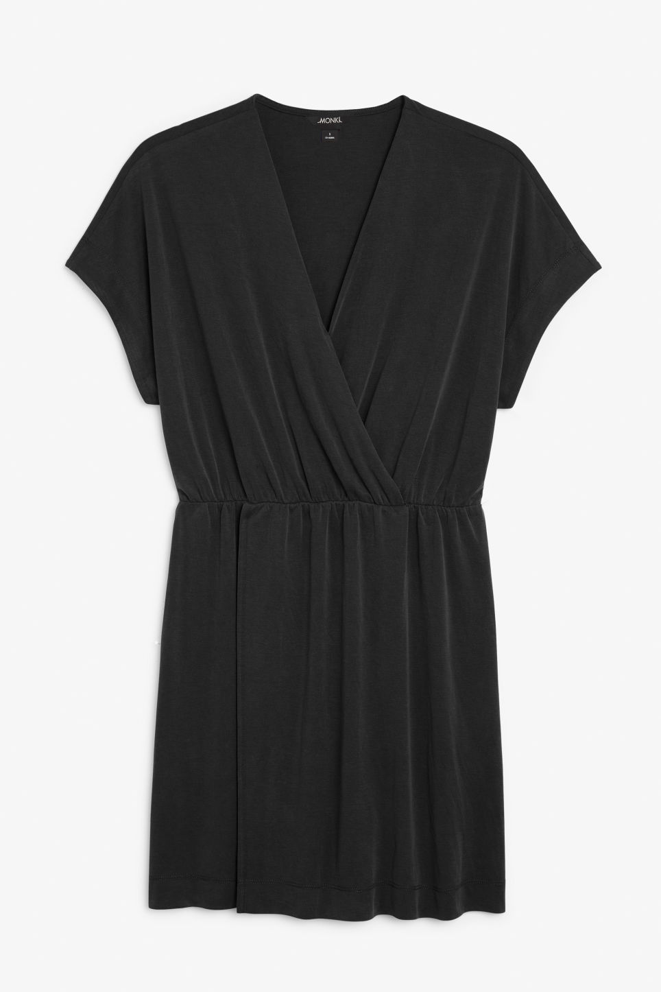 Front image of Monki super-soft mini wrap dress in black