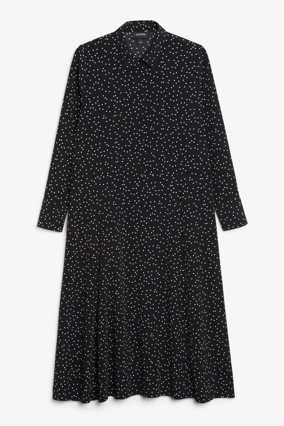 Front image of Monki maxi shirt dress in black