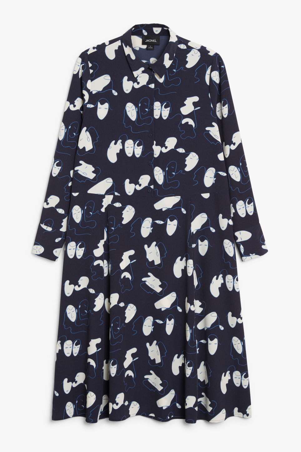Front image of Monki maxi shirt dress in blue