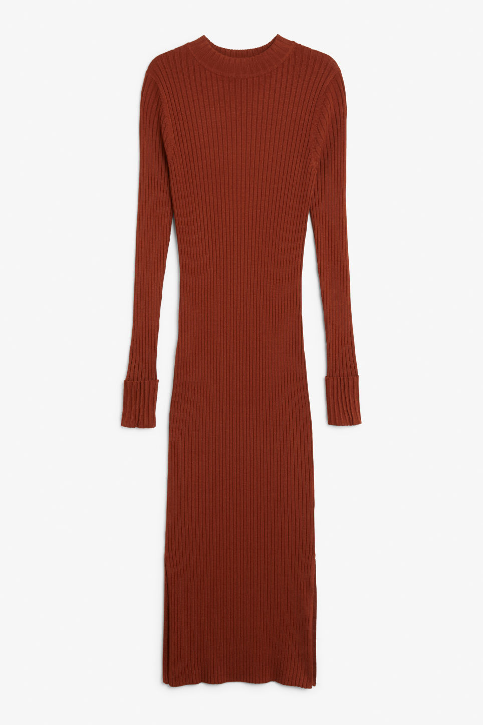 Front image of Monki long ribbed dress in orange