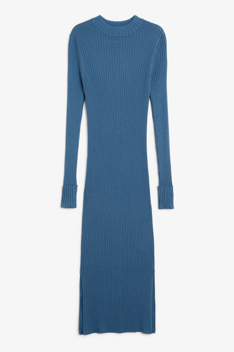 Front image of Monki long ribbed dress in blue