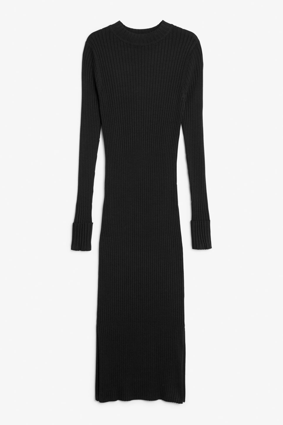 Front image of Monki long ribbed dress in black
