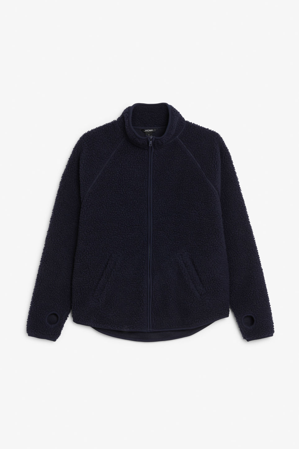 Front image of Monki zip fleece sweater in blue