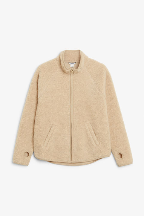 Front image of Monki zip fleece sweater in beige