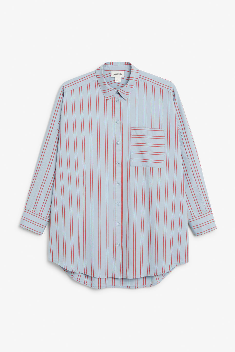 Front image of Monki oversized button-up blouse in blue