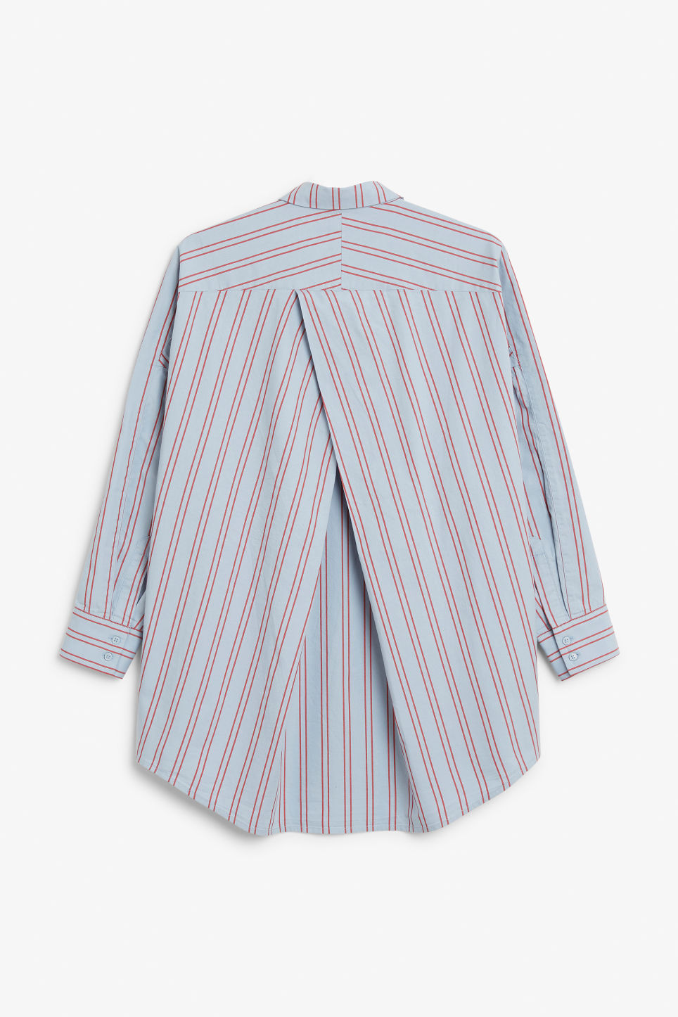 Back image of Monki oversized button-up blouse in blue