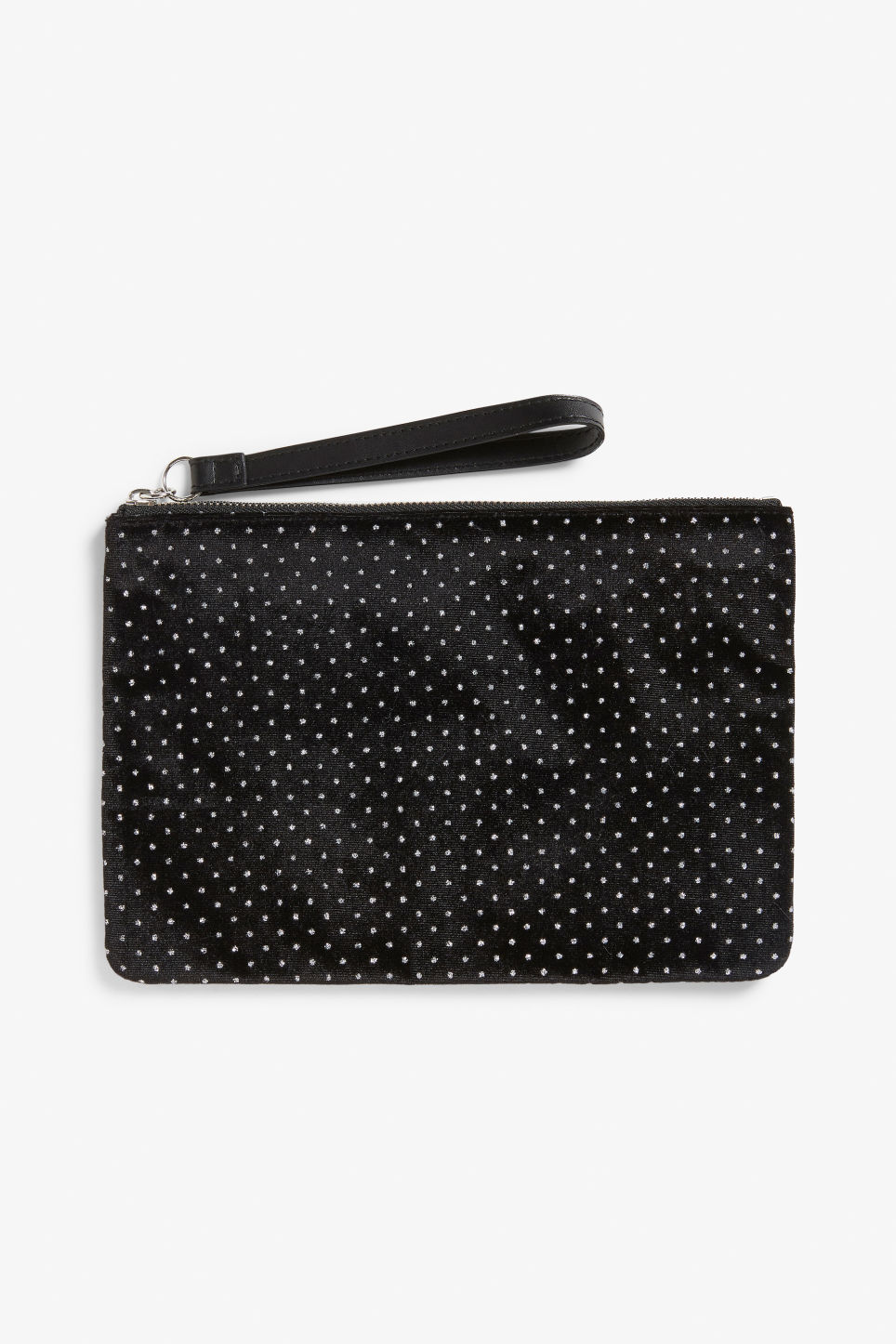 Front image of Monki zip case in black