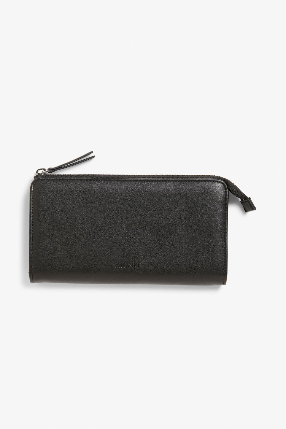 Front image of Monki faux leather zip purse  in black