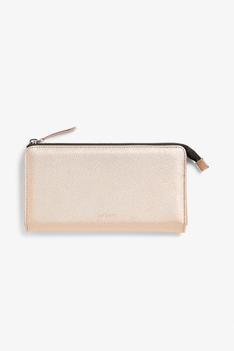 Front image of Monki faux leather zip purse  in brown
