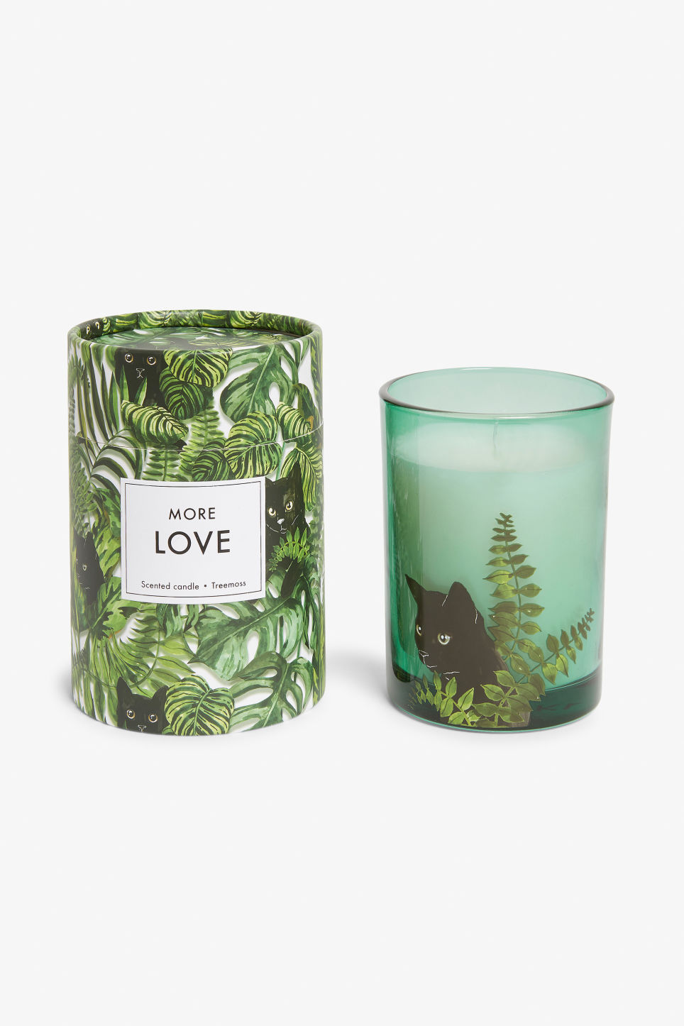 Front image of Monki scented candle in green