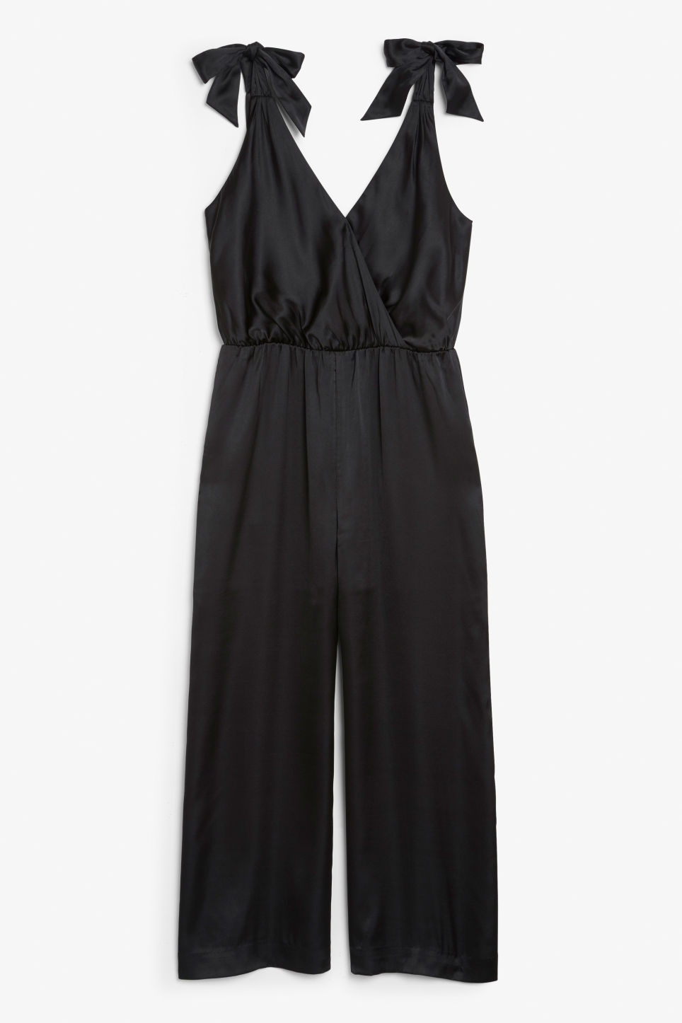 Front image of Monki silky jumpsuit in black