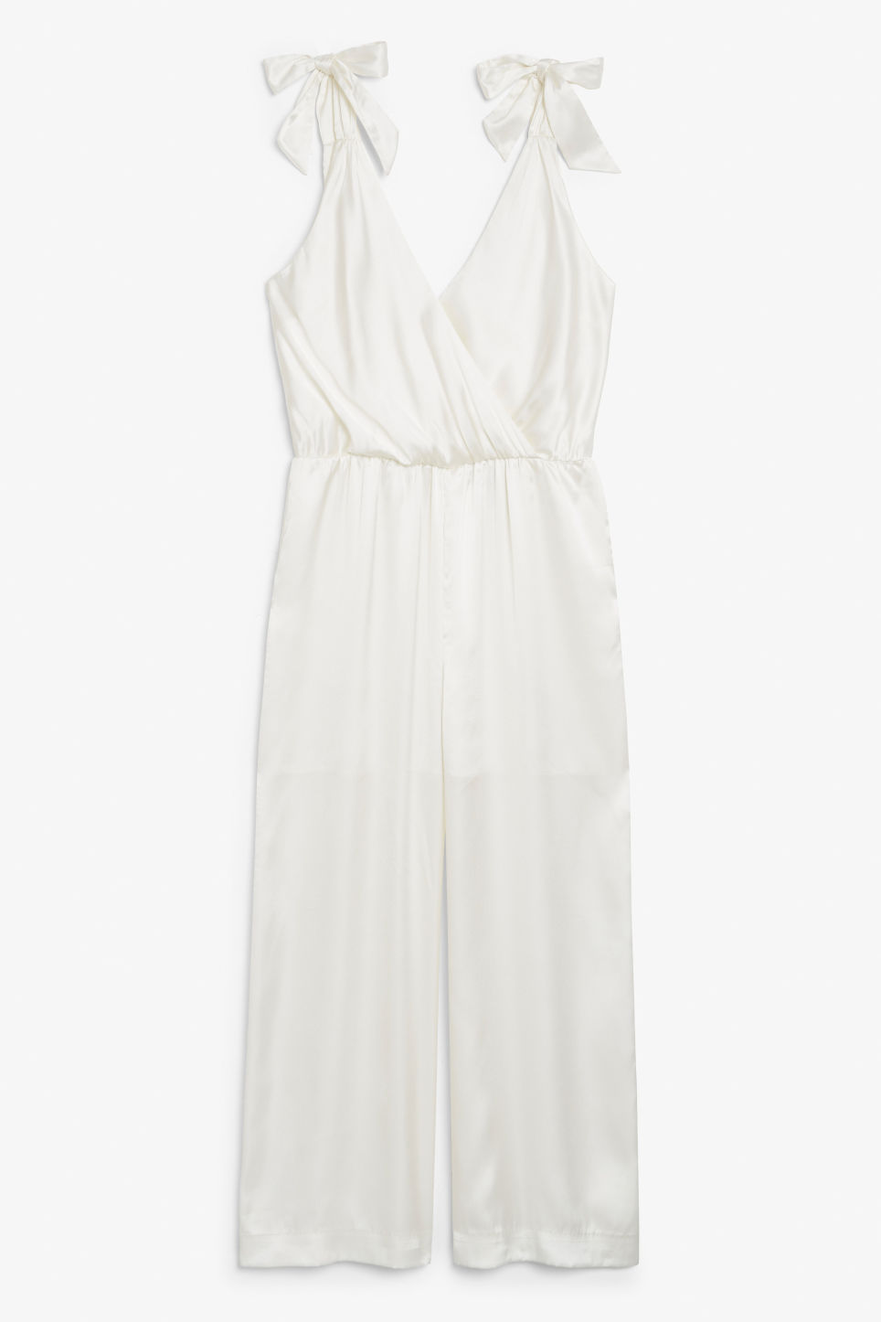 Front image of Monki silky jumpsuit in white