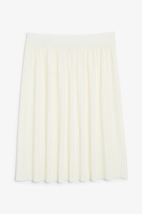 Front image of Monki pleaded mini skirt in white