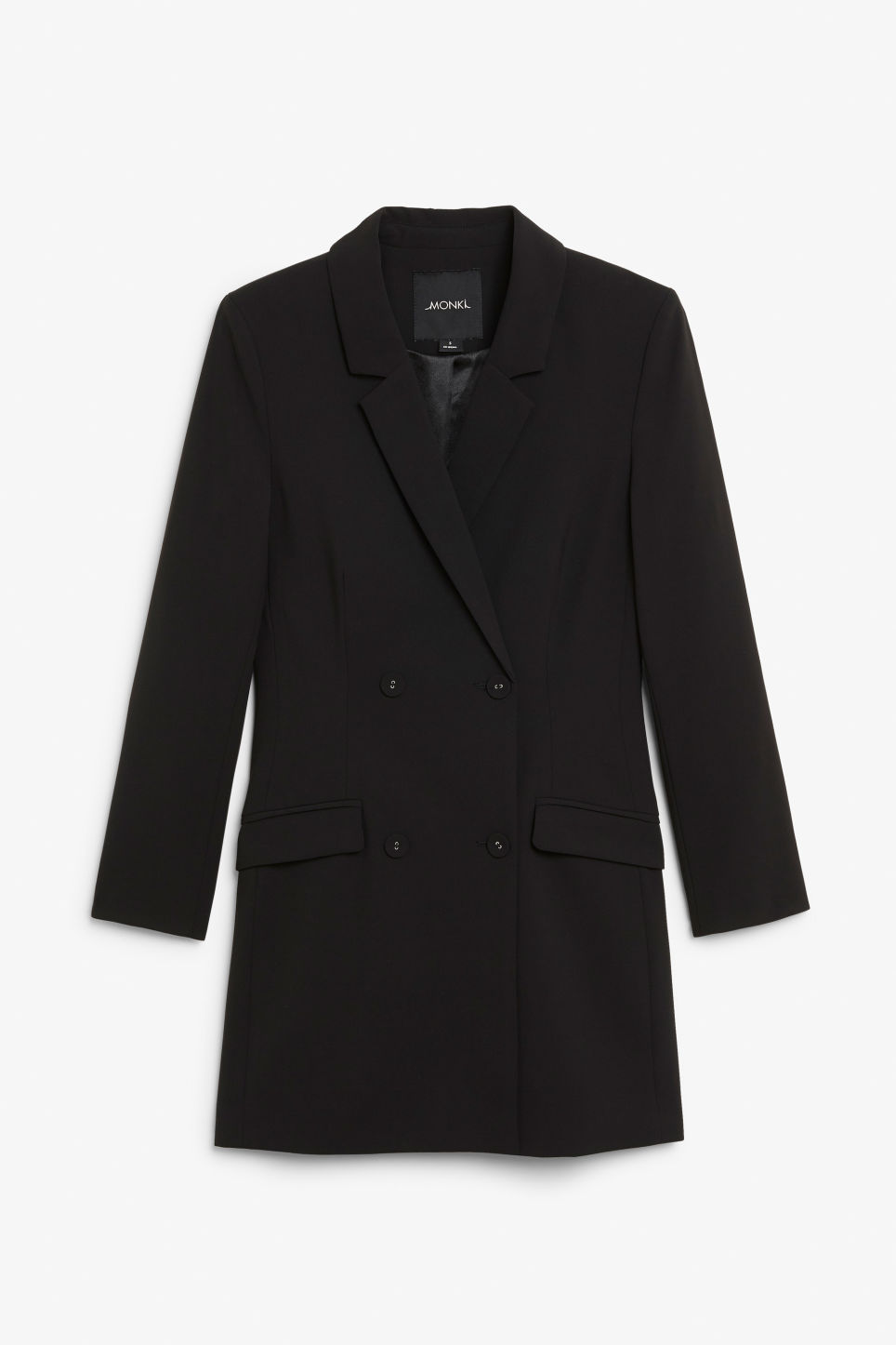 Front image of Monki long blazer dress in black