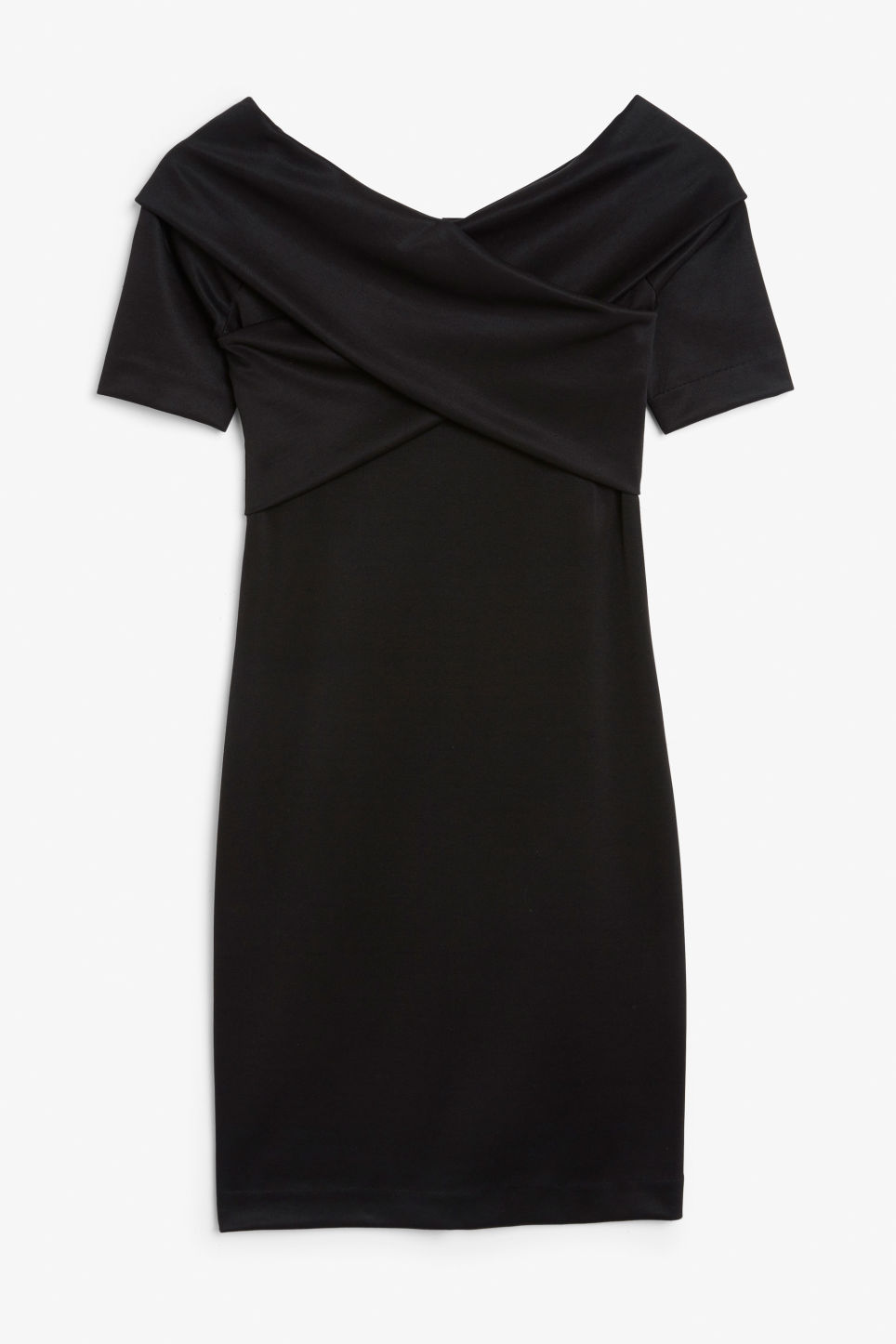 Front image of Monki stretchy dress in black