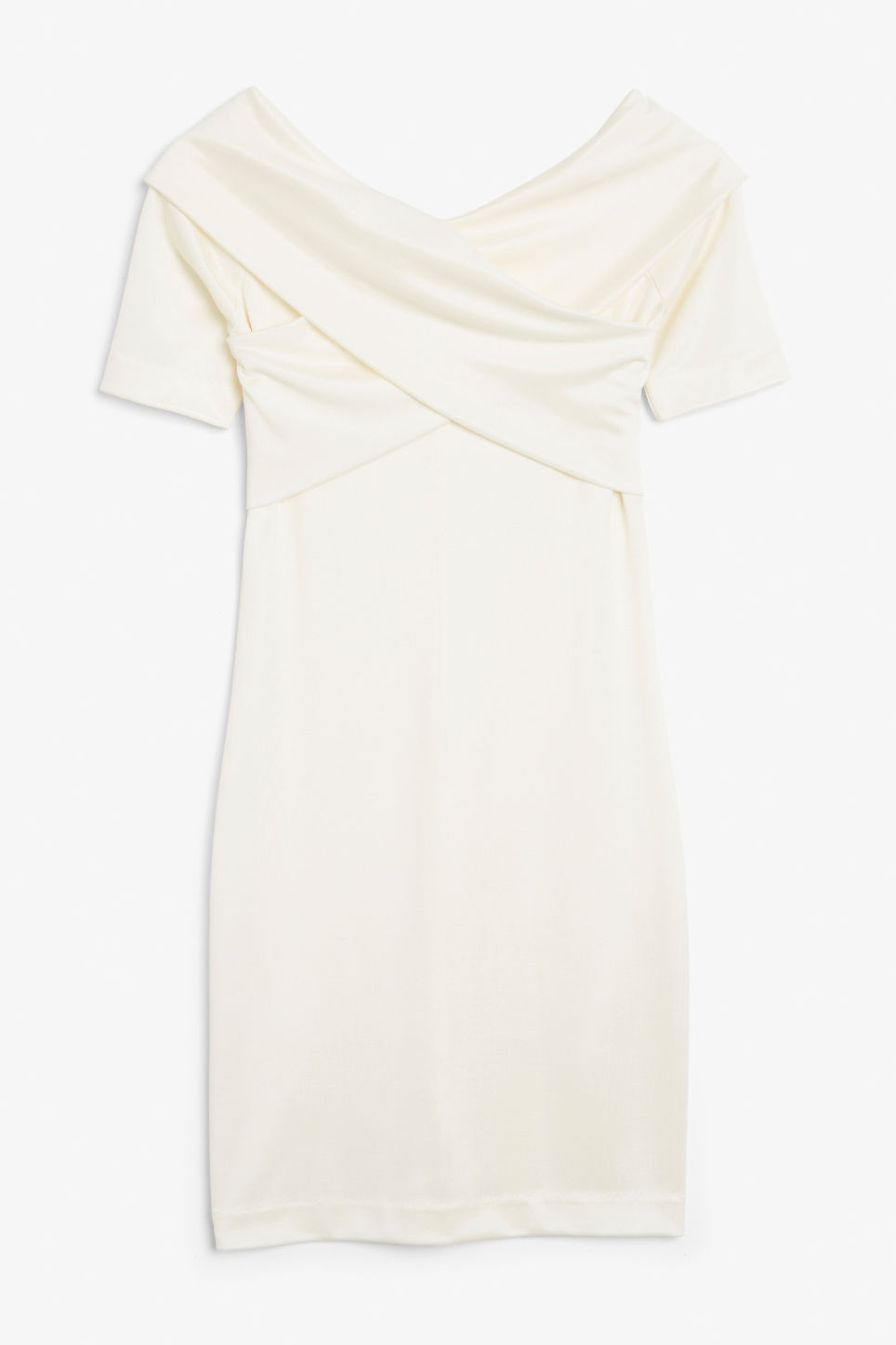 Front image of Monki stretchy dress in white