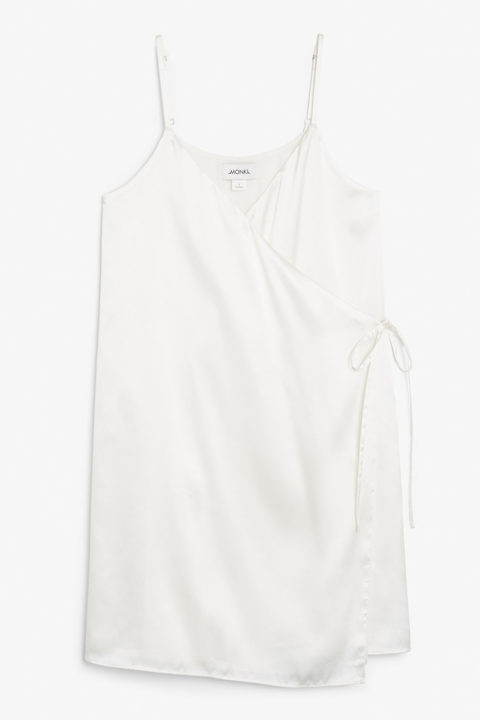 Front image of Monki silky wrap dress in white
