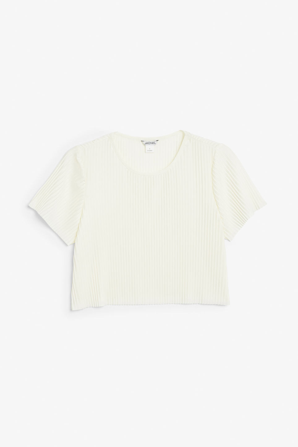 Front image of Monki pleaded top in white