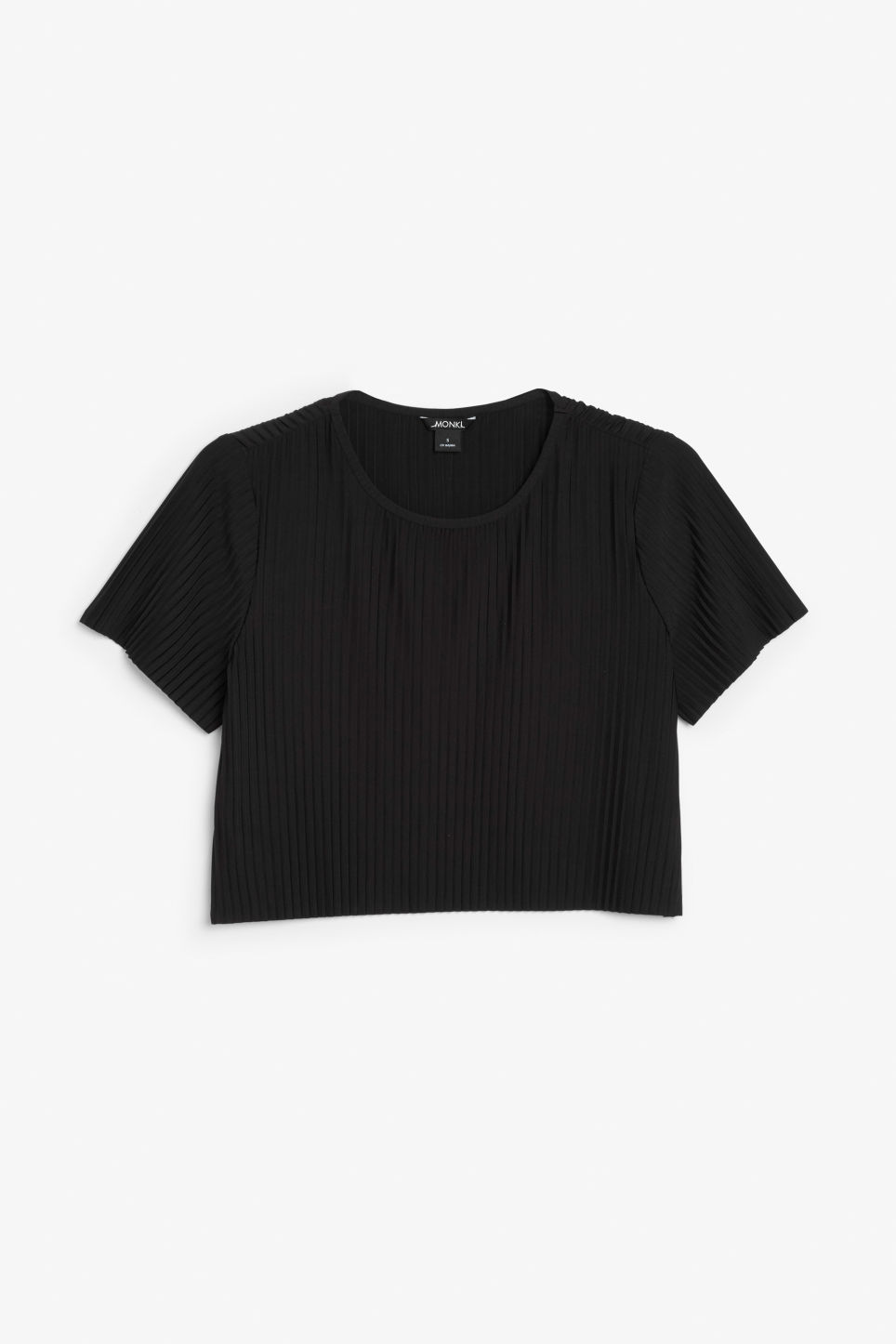 Front image of Monki pleaded top in black
