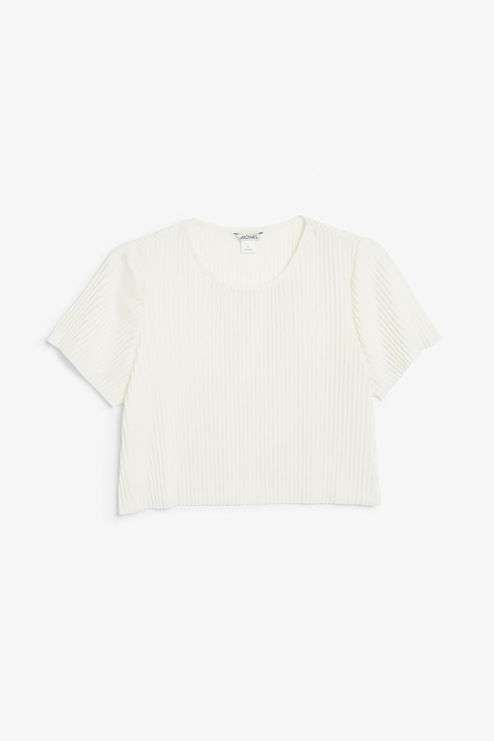 Front image of Monki pleated top in white