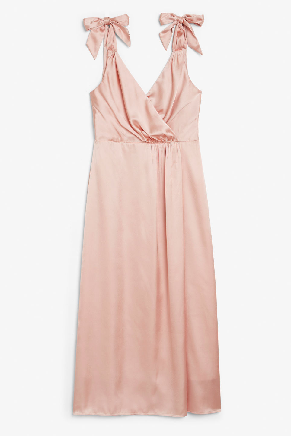 Front image of Monki long silky dress in orange