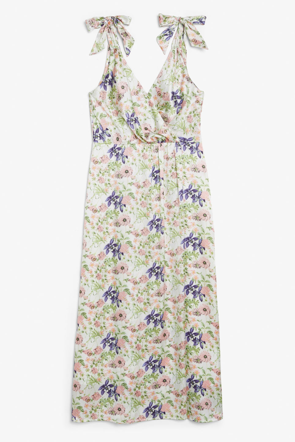 Front image of Monki long silky dress in white
