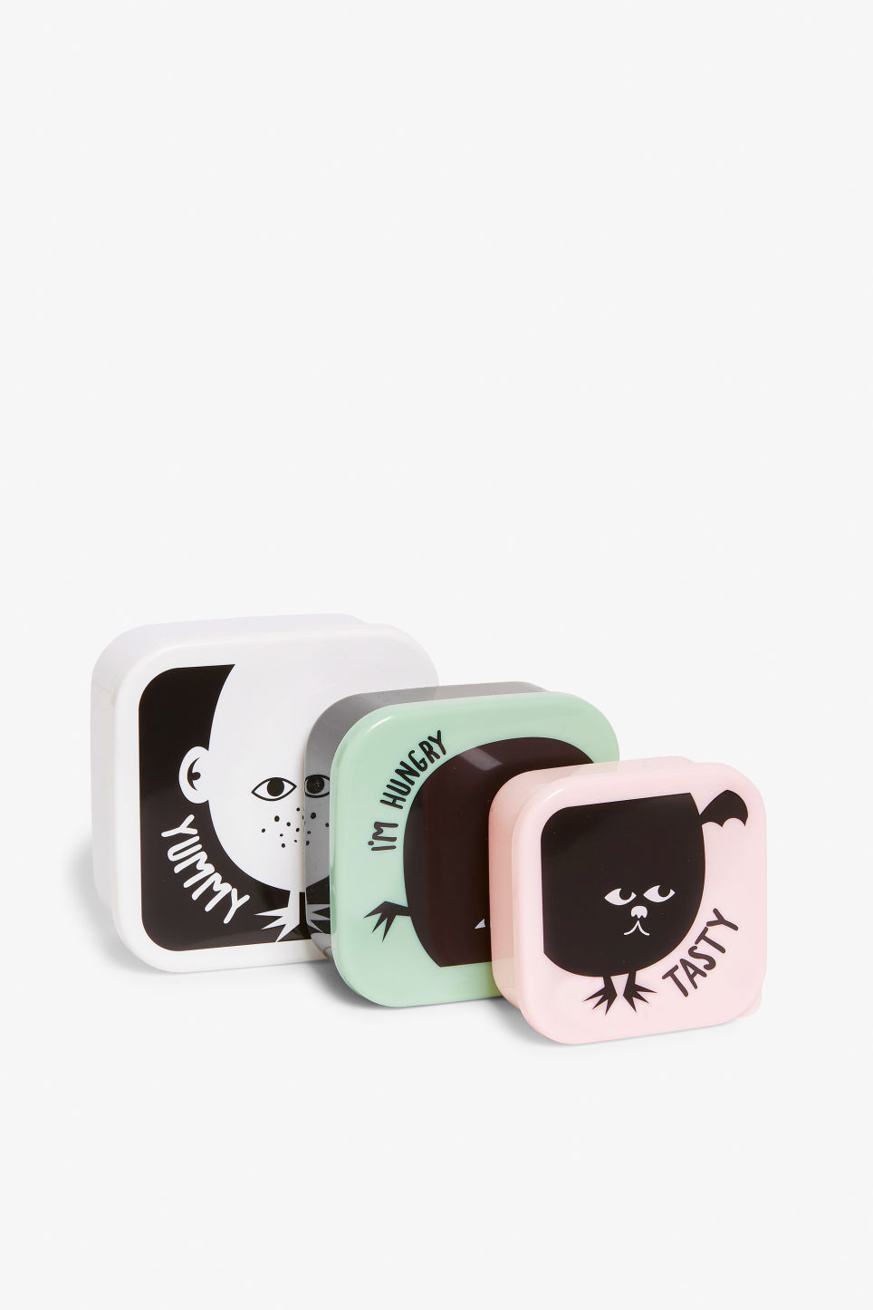 Front image of Monki lunch box set in black